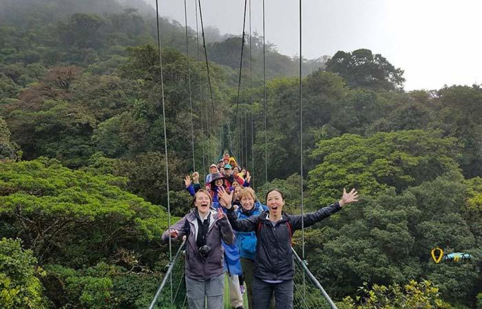 Group at hanging bridge in Monteverde Costa Rica