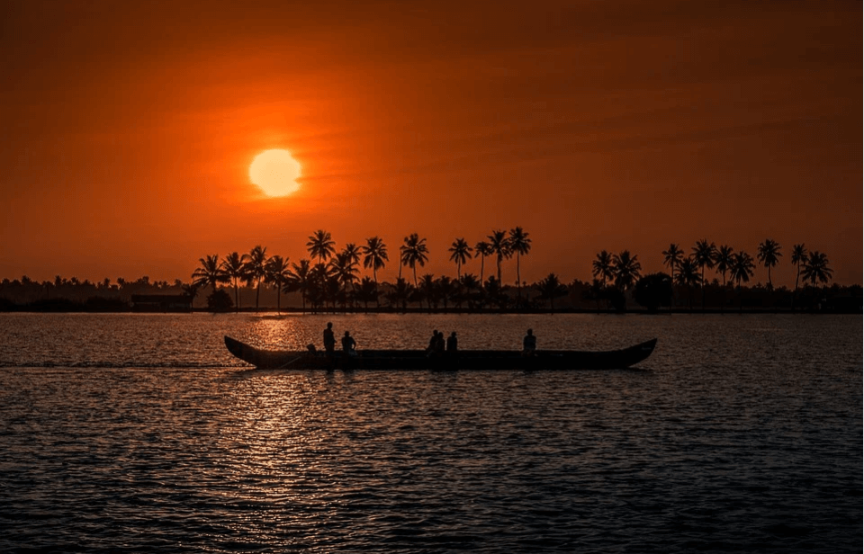 Boating in the backwaters of Kerala